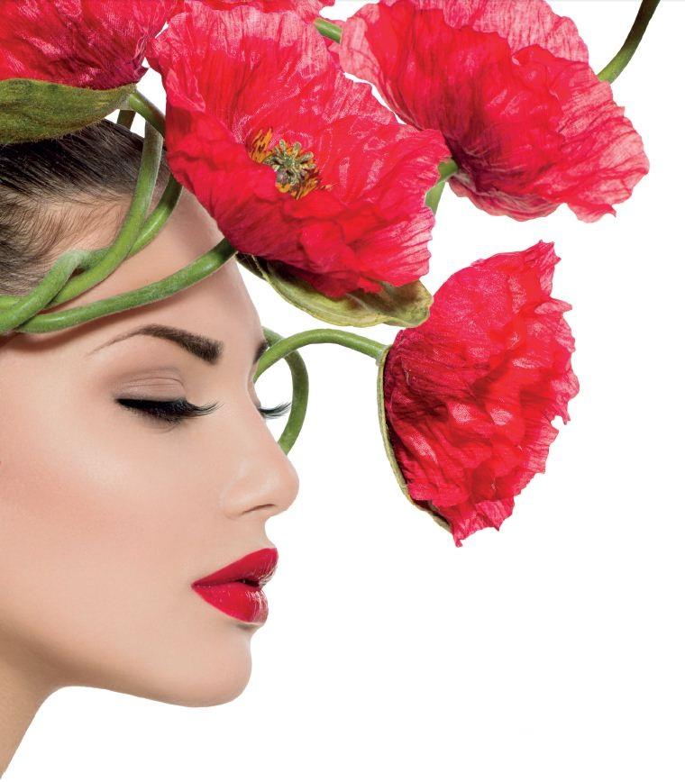 Dame mit Blumen
